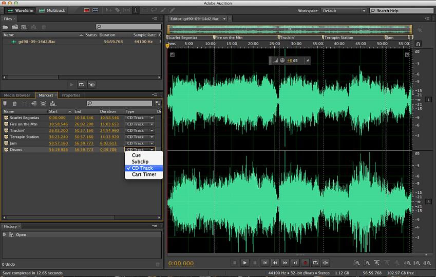 Pic minh họa giới thiệu về giao diện của phầm mềm chỉnh nhạc hay: Adobe Audition
